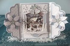 Christmas Cards 2018, Christmas Scenes, Xmas Cards, Holiday Cards, Fancy Fold Cards, Folded Cards, Handmade Christmas, Christmas Crafts, Marianne Design Cards