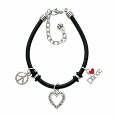 """""""I love Dance"""" with Red Heart Black Peace Love Charm Bracelet [Jewelry] . $17.99. Silver-plated, hand enameled peace love charm bracelet.. """"I love Dance"""" with Red Heart Black Peace Love Charm Bracelet"""