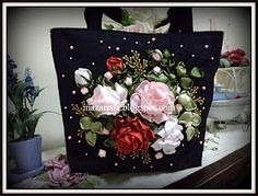 Beautiful black handbag with silk ribbon roses embroidery in deep red, pink and white. - ladies handbags and purses, cute big purses, leather handbag brands *ad