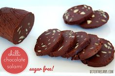 Easy chilli chocolate salami slices are a unique show stopper. Sugar free and it only takes 10 minutes, then pop them in the fridge. Impress your guests.