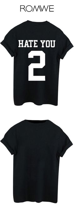 Black Round Neck Letters 2 Print T-Shirt //Romwe graphic t-shirt for fashion icon. So cool with the ripped short!
