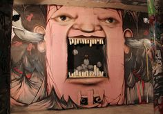 "Nikita Nomerz is a graffiti and street artist. In a series called ""Living Walls,"" Nomerz created amazing graffiti on buildings, bringing these derelict … Creepy Faces, Funny Faces, Op Art, Yarn Bombing, Urbane Kunst, Dental Art, Best Street Art, Arte Popular, Street Art Graffiti"