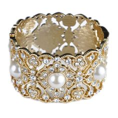 Pearl and Crystal Hinged Cuff