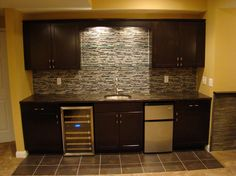 Basement wet bar basement contemporary with stone tile backsplash stone tile backsplash