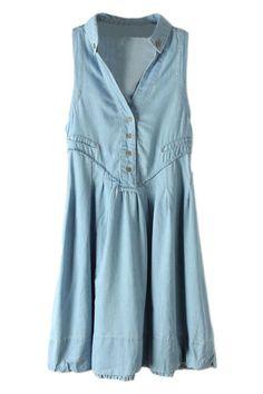 only a denim dress is better then a sundress!Buttoned V-neck Blue Denim Dress #ROMWE