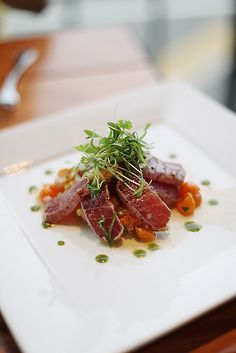 yellowfin tuna with yuzu, shiso, cilantro sprouts, tomato 'ceviche' story and more photos on à la mode* Father's Office Culver City, CA Fish Recipes, Seafood Recipes, Asian Recipes, Cooking Recipes, Healthy Recipes, Healthy Tuna, Sashimi, Ceviche, Seafood Dishes