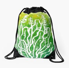 """Summer Herbs, abstract floral art, printmaking"" Drawstring Bags by clipsocallipso 