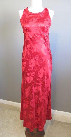 Red Maxi Dress Vintage Brocade Body Con Prom 1990s XS. $26.00, via Etsy.