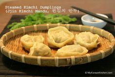 Steamed Kimchi Dumplings (Jjin Kimchi Mandu) | MyKoreanKitchen.com