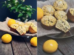High protein Lemon Poppy Seed Muffins Diptych 1-2