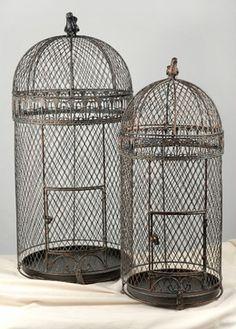 "59.00 SALE PRICE! . Large Wired Pigeon Bird Cages set of two 30"" & 25"" . set of two cages largest cage 30"" tall x 13.5 wide smaller birdc..."