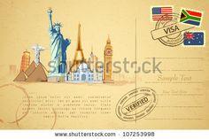 travel postcard world graphic - Google Search