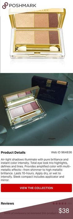 Estee Lauder eyeshadow trio in beach metals Estee Lauder pure color eyeshadow trio in beach metals. Brand new in box/unswatched! Have multiples available and offering bundle discounts. Just ask! NO TRADES! Estee Lauder Makeup Eyeshadow