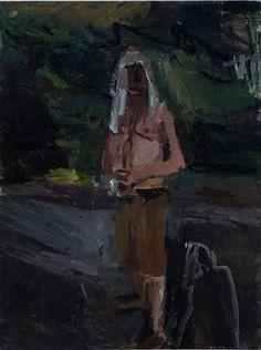 janice nowinski man in a park, 2013 oil on canvas, 24 x Chantal Joffe, Park 24, Naive, Figure Painting, Figurative, Painters, Oil On Canvas, Portraits, Gardening