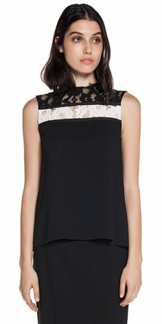 Tops | Draped Lace Contrast Top