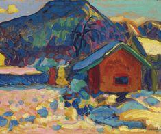 Wassily Kandinsky (1866-1944) Winterstudie with Berg (1908) oil on board 33 x 44.5 cm