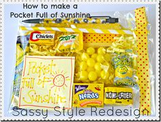 how to make a pocket full of sunshine with sassy style redesign--thank you gifts for FIG stake activity helpers....