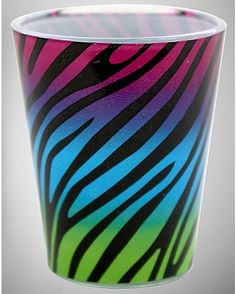 3 oz. Multi Color Zebra Shot Glass - Spencer's