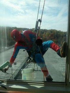 Spiderman: best window washer ever!