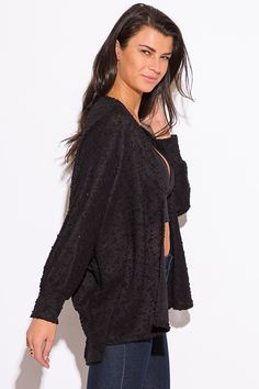 Cute cheap black embellished dolman sleeve cardigan sweater top ...