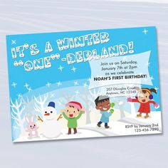 Winter Themed First Birthday Invitation / by anthonypingicer, $10.00