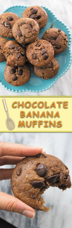 Chocolate Banana Muffins - super soft & intensely chocolatey is how I describe these Eggfree, Butterfree and dairyfree muffins!! No funny ingredients! Simple whole ingredients makes these the best banana chocolate muffins out there!