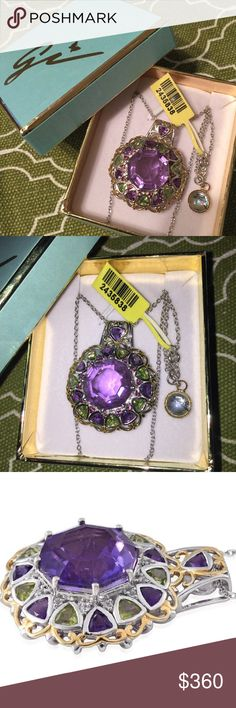 """Lavender Quartz 14K YG & Platinum over Sterling Beautiful statement piece Sugar by Gay Isber, lavender triplet quartz 14k yellow gold and platinum over Sterling silver, 20"""" chain (19.8 CTW). Other stones in pendant are African amethyst, peridot, & rhodolite garnet. sugar by gay isber Jewelry Necklaces"""