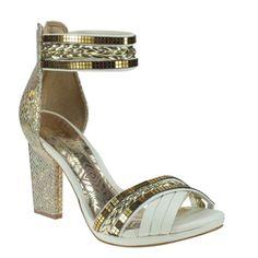 Sandália Tanara N6322 - Off White/Ouro/Avela (Fresh/Sartre) - Calçados Online Sandálias, Sapatos e Botas Femininas | Katy.com.br
