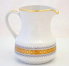 Mitterteich Bavaria White Heavy Gold Gilt & Gray Scrolls Creamer Nice