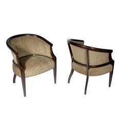 Pair of Sculptural Barrel Chairs