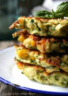 Zucchini Corn Fritters with Basil - These are great for breakfast, brunch, or snack. The basil gives a nice refreshing flavor. These fritters are so flavorful that they don't need any sauce.