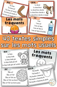 Lecture facile – Mots fréquents – French text on sight words - Pin Hairs French Lessons, Spanish Lessons, German Words, French Words, Teaching French Immersion, Spanish Language Learning, Teaching Spanish, Spanish Activities, Math Activities