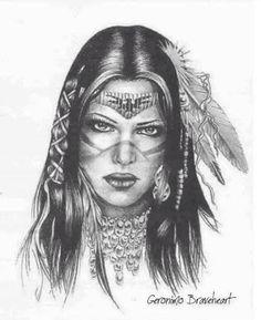 Native American Art by: Geronimo Braveheart - Beauty Women Native American Drawing, Native American Tattoos, Native Tattoos, Native American Paintings, Native American Pictures, Native American Symbols, Native American Beauty, Native American Indians, Warrior Tattoos