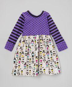 Love this Purple Stripe & Dot Monster March Dress - Toddler & Girls on #zulily! #zulilyfinds