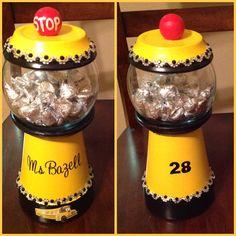School bus driver candy jar, gum ball, gift idea