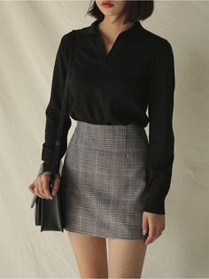 OKVIT, Norm core look & Daily look fashion for Women, Skirt glen check mini skirt Look Fashion, 90s Fashion, Korean Fashion, Autumn Fashion, Fashion Outfits, Fashion Trends, Skirt Fashion, Fashion Tips, Fashion Styles