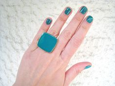 Teal statement ring blue green emerald cyan viridian minimal simple modern cocktail big chunky stainless steel adjustable glass dome summer