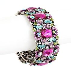 Purple Flower Painting and Crystal Cuff Bangle Bracelet $19.99