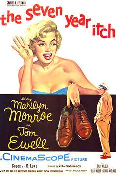 Marilyn Monroe movie poster for the film The Seven Year Itch, starring Tom Ewell . Old Movie Posters, Classic Movie Posters, Classic Movies, Art Posters, Old Movies, Vintage Movies, Marilyn Monroe Movies, Marylin Monroe, Carolyn Jones