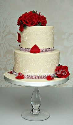 Vintage Red Wedding Cake by www.jellycake.co.uk, via Flickr