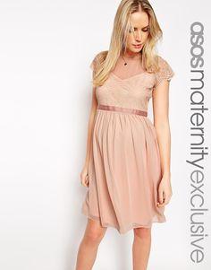 Image 1 ofASOS Maternity Chiffon Skater Dress With Lace Top
