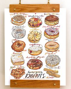 Name: Donuts (portrait) This colorful fine art print features a selection of delicious donuts. A perfect print for the kitchen, or a gift for your Food Design, Menu Design, Donut Decorations, Food Sketch, Watercolor Food, Delicious Donuts, Food Painting, Guacamole Recipe, Food Drawing