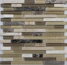 B002 - Dorado Subway Emperador and Travertine stone mixed with Glass Tile multi Colored; Brown and Cream