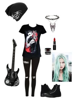 """""""Untitled #64"""" by pentagram666 ❤ liked on Polyvore featuring Topshop, Converse, Hot Topic and Smashbox"""
