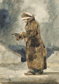 Eugène Delacroix (French, Le mendiant anglais [The English Beggar]. Watercolour on paper, x 16 cm. Matisse, Painting & Drawing, Watercolor Paintings, Portrait Paintings, Watercolours, Gouache, Eugène Delacroix, Romanticism Artists, Art Français