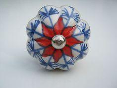 Ceramic Knob Flower Shaped Blue & Red Design - Handles Pulls Cupboards Kitchens