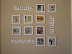 Check it out! These are Ikea 5×5 frames, and Making Memories Chipboard words that I got at Target. 10 layouts printed at Walmart on 5×7 sheets. Cool.