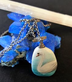 White Swan Turquoise Water 925 Silver Chain N-0004-silver