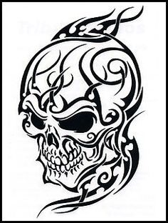 "Tribal Skull Temporaray Tattoo by Tattoo Fun. $3.95. This is a Temporary tattoo of a black and white skull with tribal designs on and around the skull. It measures approx 3"" long x 2"" wide."