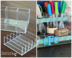Design your own custom desk accessories with a little washi tape!